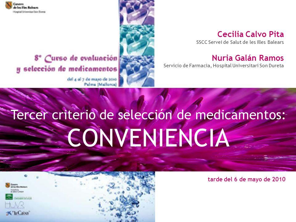 Tercer criterio de selección de medicamentos: