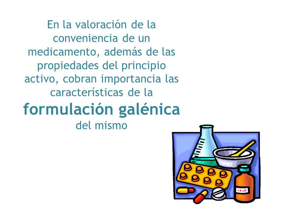 En la valoración de la conveniencia de un medicamento, además de las propiedades del principio activo, cobran importancia las características de la formulación galénica del mismo