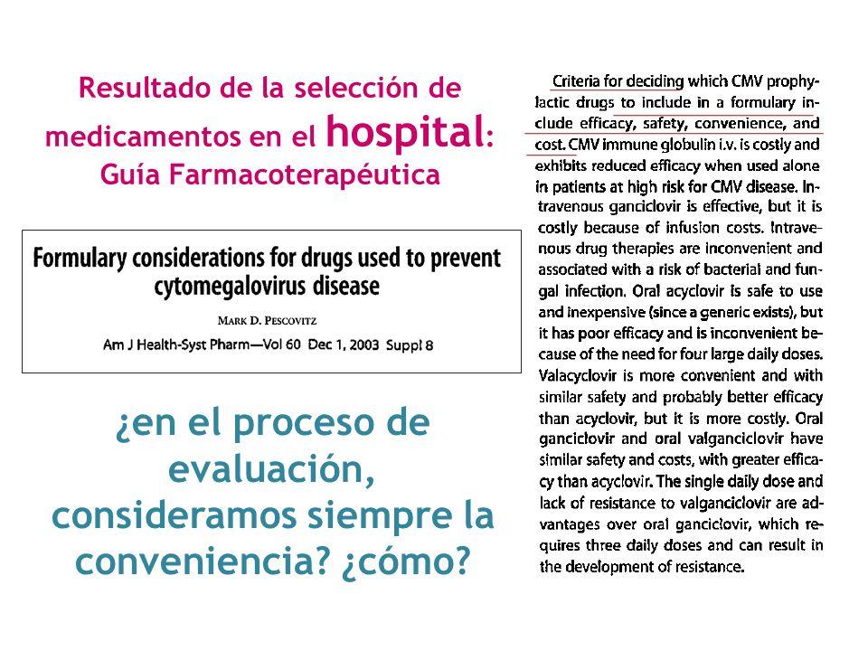 Resultado de la selección de medicamentos en el hospital: Guía Farmacoterapéutica