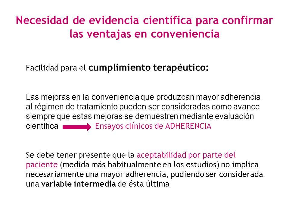 Necesidad de evidencia científica para confirmar las ventajas en conveniencia