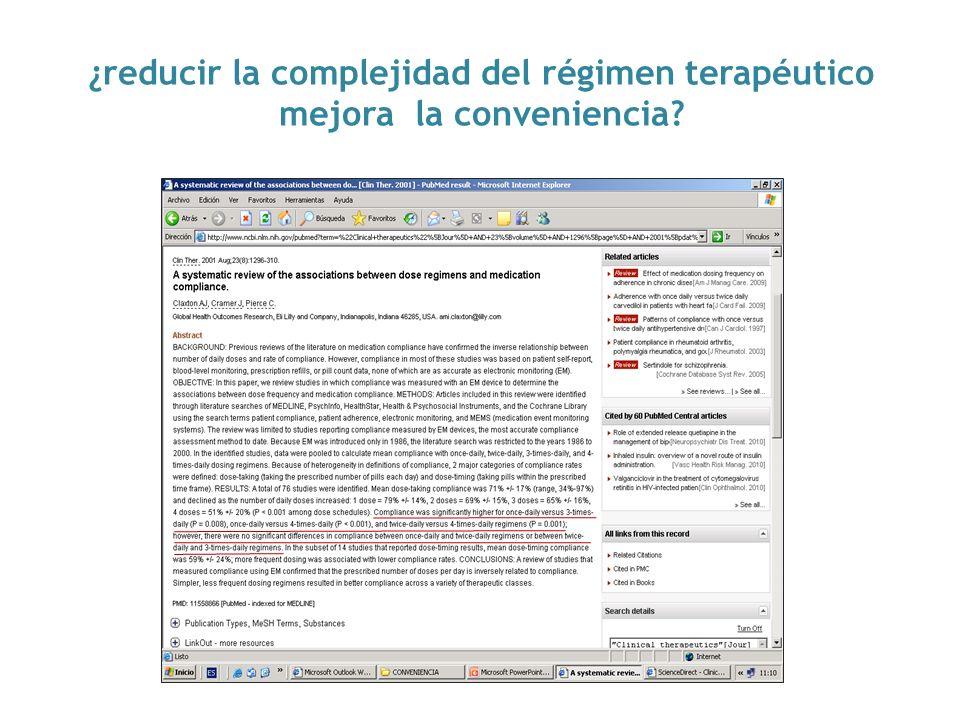 ¿reducir la complejidad del régimen terapéutico mejora la conveniencia