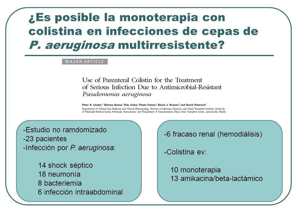 ¿Es posible la monoterapia con colistina en infecciones de cepas de P