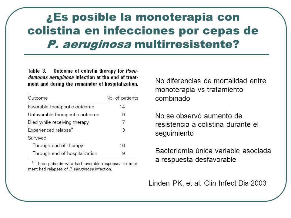 ¿Es posible la monoterapia con colistina en infecciones por cepas de P