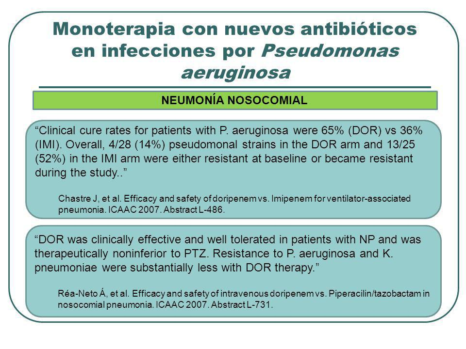 Monoterapia con nuevos antibióticos en infecciones por Pseudomonas aeruginosa