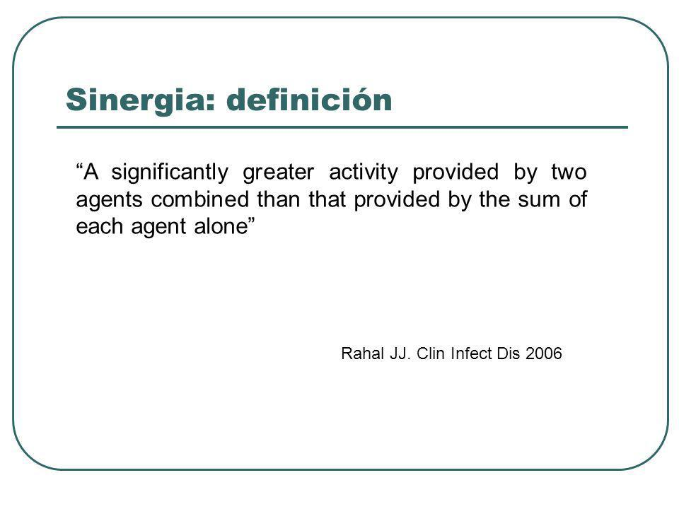Sinergia: definición A significantly greater activity provided by two agents combined than that provided by the sum of each agent alone