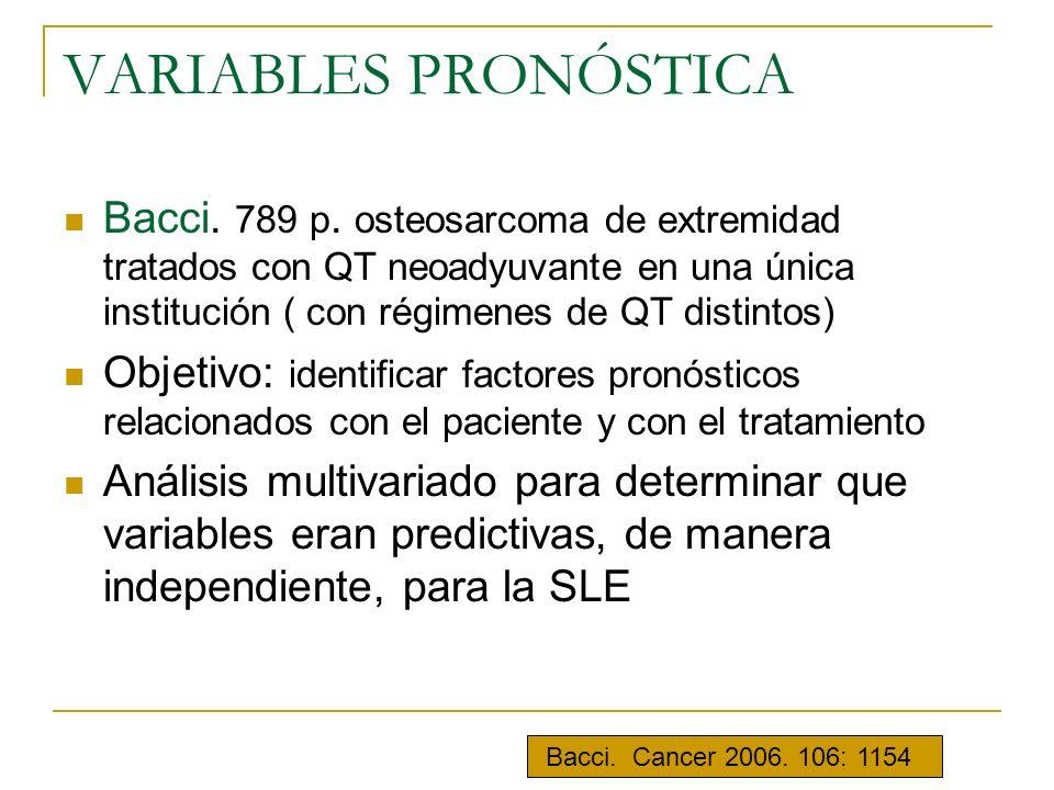 VARIABLES PRONÓSTICA Bacci. 789 p. osteosarcoma de extremidad tratados con QT neoadyuvante en una única institución ( con régimenes de QT distintos)