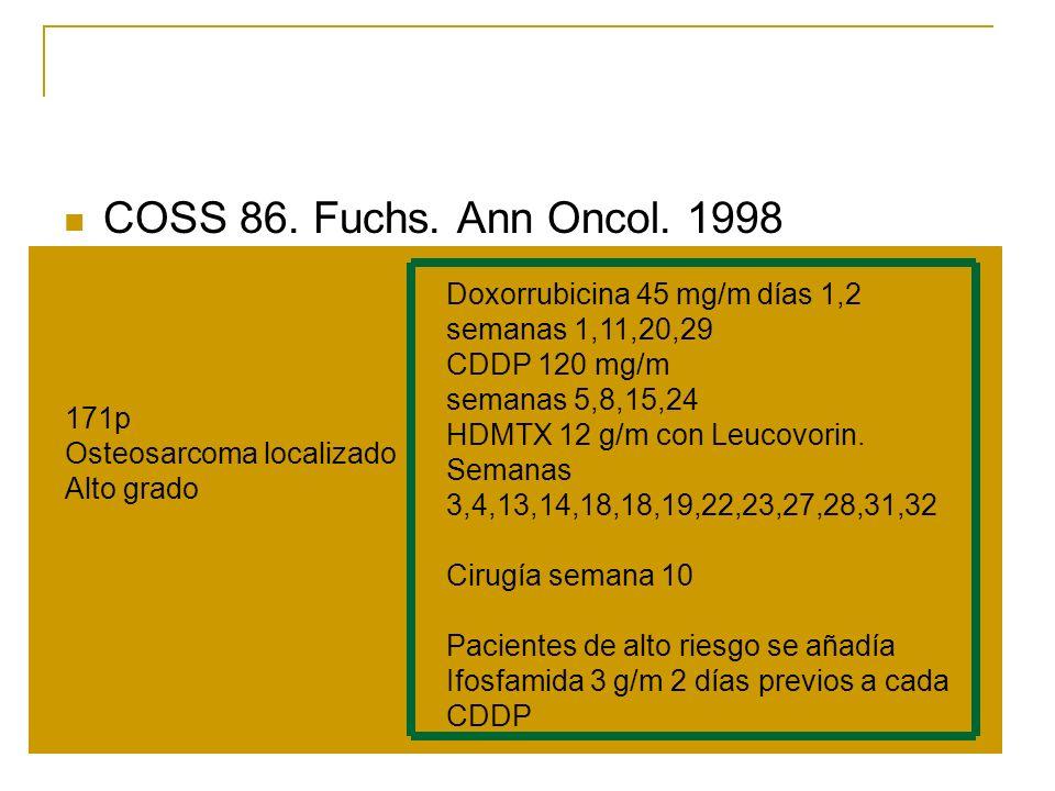 COSS 86. Fuchs. Ann Oncol. 1998 Doxorrubicina 45 mg/m días 1,2