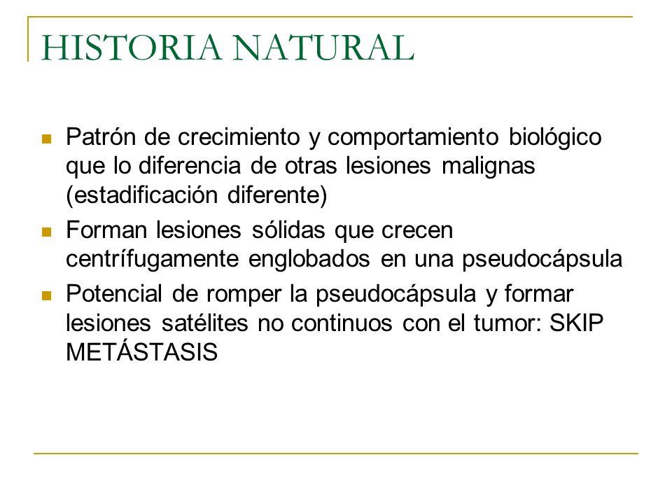 HISTORIA NATURAL Patrón de crecimiento y comportamiento biológico que lo diferencia de otras lesiones malignas (estadificación diferente)