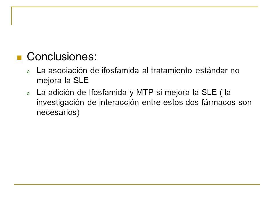 Conclusiones: La asociación de ifosfamida al tratamiento estándar no mejora la SLE.