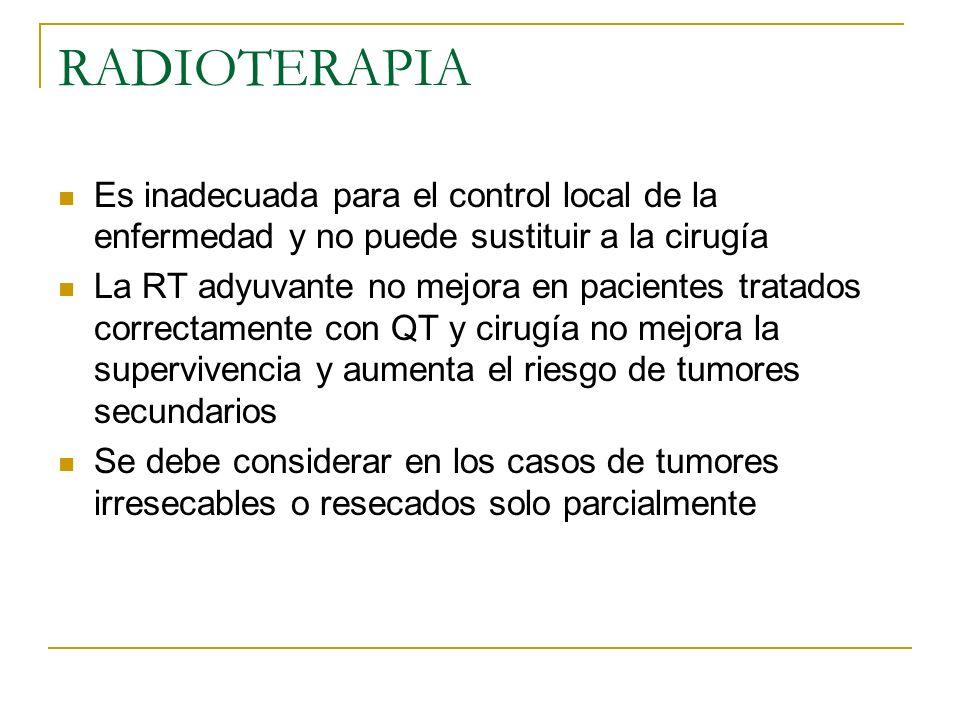 RADIOTERAPIA Es inadecuada para el control local de la enfermedad y no puede sustituir a la cirugía.