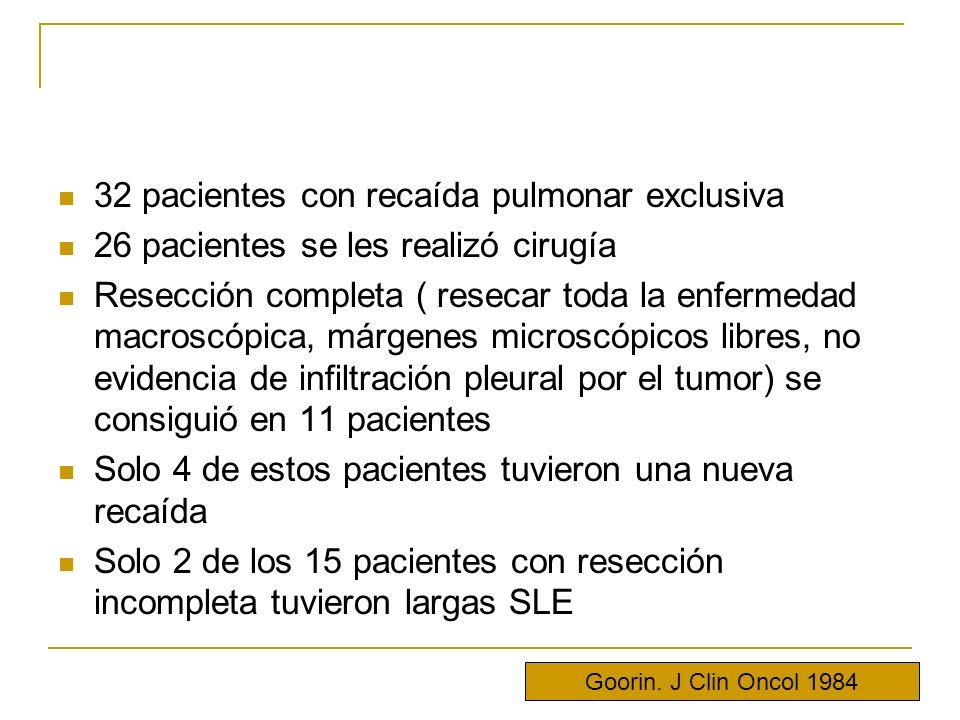 32 pacientes con recaída pulmonar exclusiva