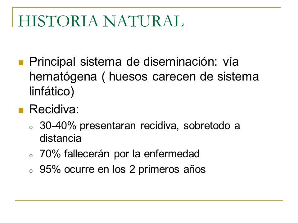 HISTORIA NATURAL Principal sistema de diseminación: vía hematógena ( huesos carecen de sistema linfático)