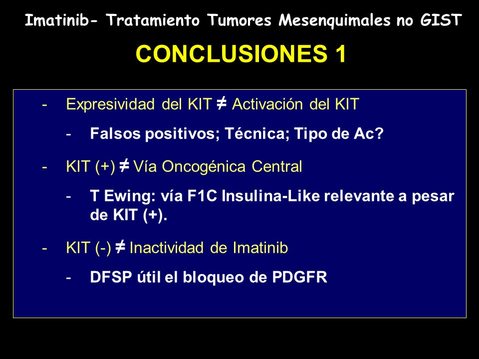 CONCLUSIONES 1 Imatinib- Tratamiento Tumores Mesenquimales no GIST