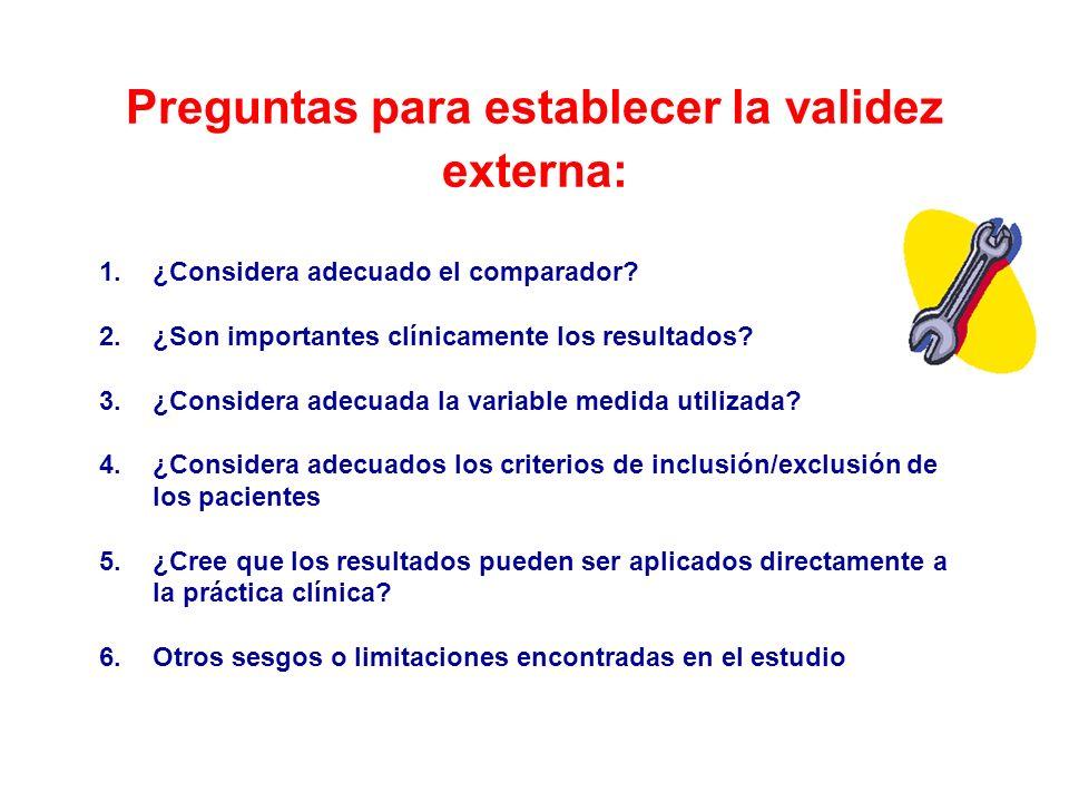 Preguntas para establecer la validez externa: