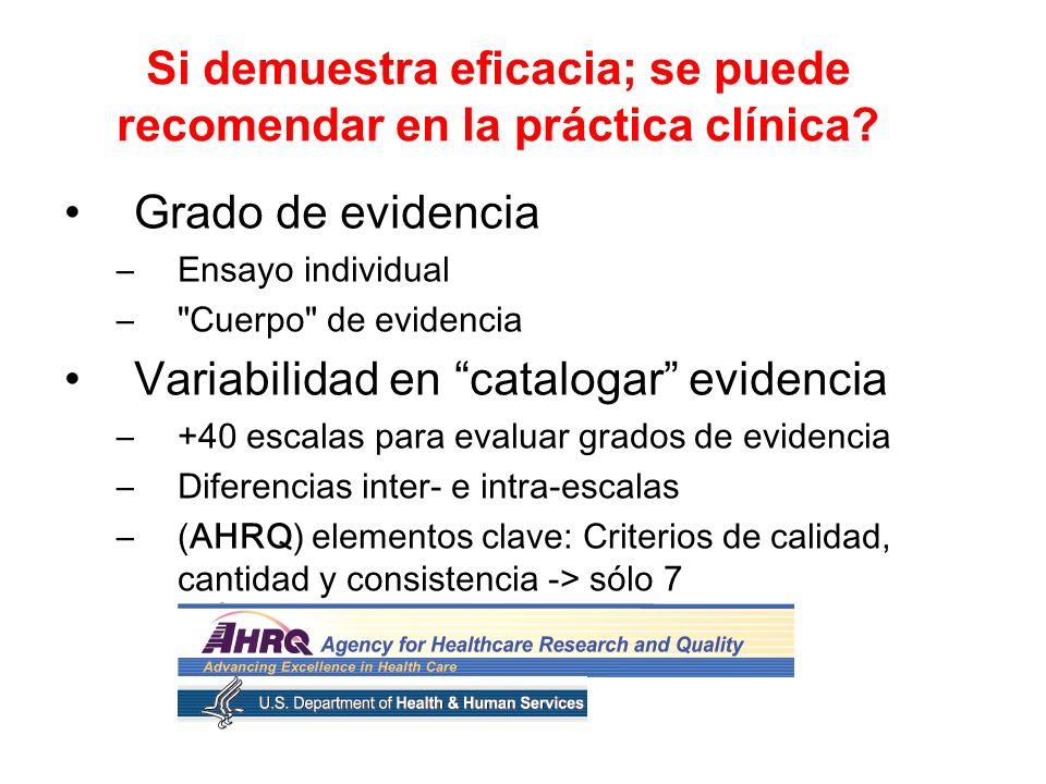 Si demuestra eficacia; se puede recomendar en la práctica clínica