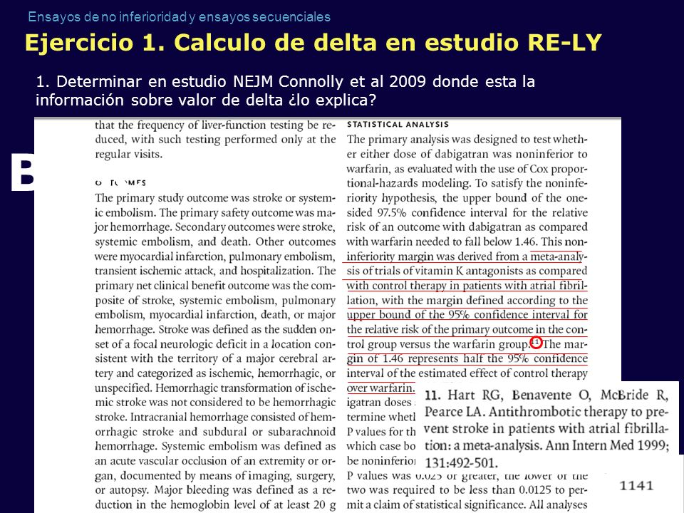 Buscar Ejercicio 1. Calculo de delta en estudio RE-LY