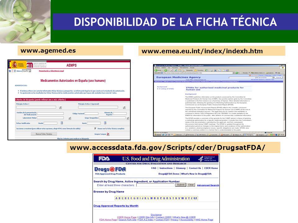 DISPONIBILIDAD DE LA FICHA TÉCNICA