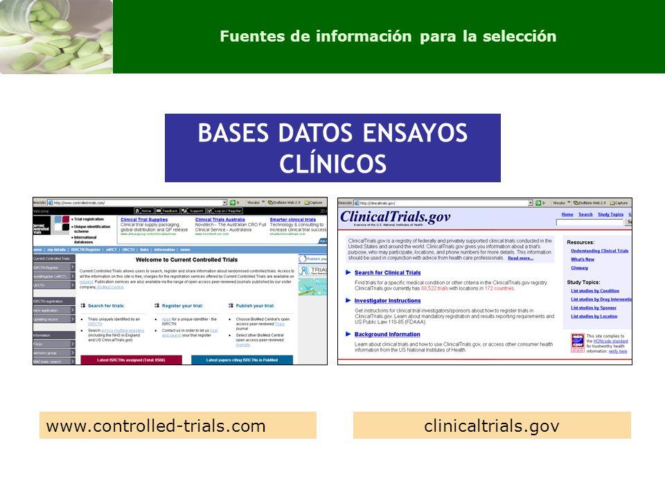 BASES DATOS ENSAYOS CLÍNICOS