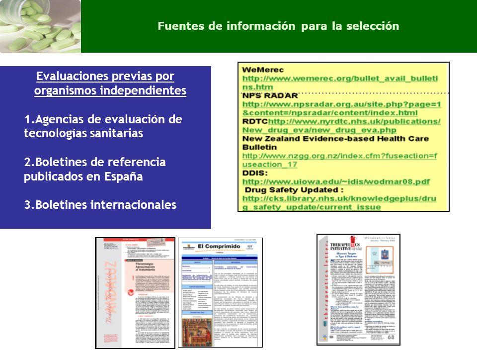Evaluaciones previas por organismos independientes