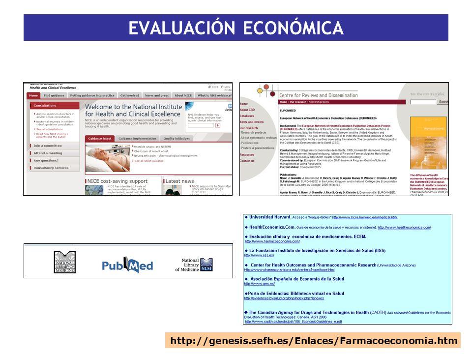 EVALUACIÓN ECONÓMICA http://genesis.sefh.es/Enlaces/Farmacoeconomia.htm