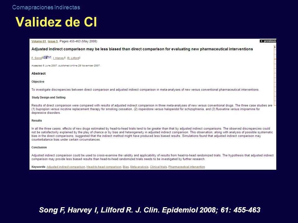 Validez de CI Song F, Harvey I, Lilford R. J. Clin. Epidemiol 2008; 61: 455-463
