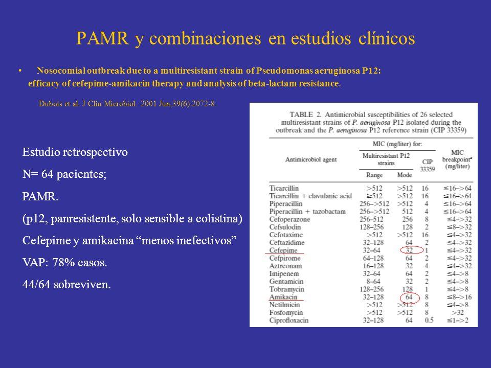 PAMR y combinaciones en estudios clínicos