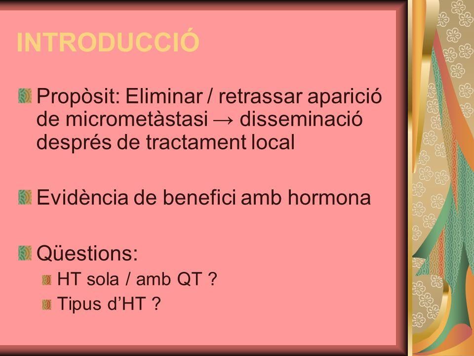 INTRODUCCIÓ Propòsit: Eliminar / retrassar aparició de micrometàstasi → disseminació després de tractament local.