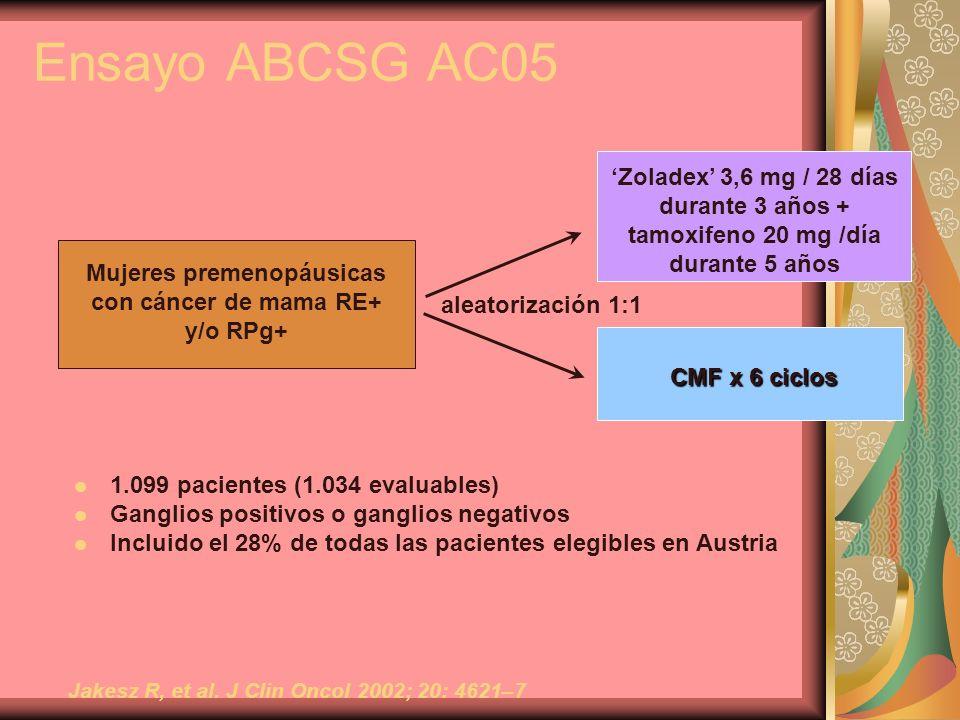 Ensayo ABCSG AC05 'Zoladex' 3,6 mg / 28 días durante 3 años +