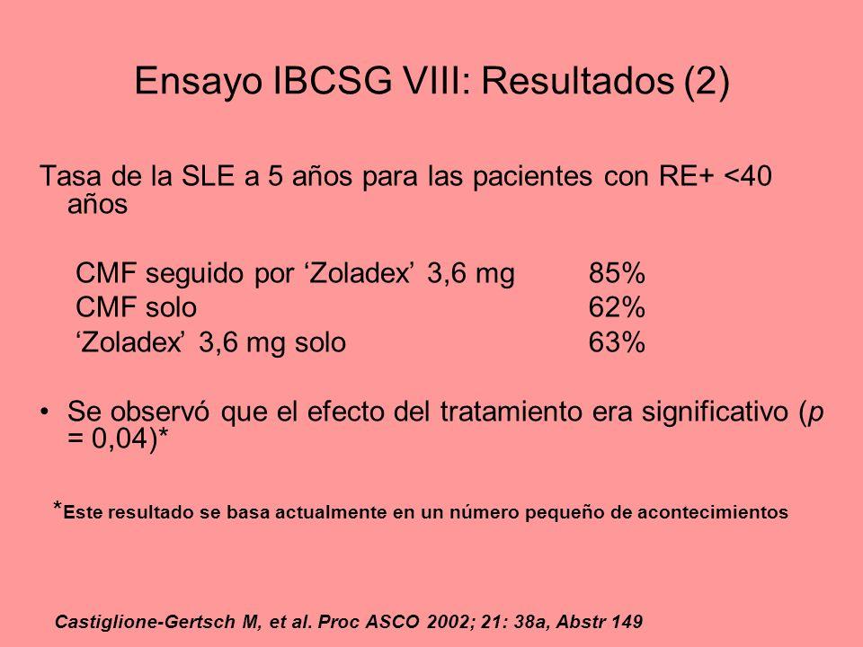 Ensayo IBCSG VIII: Resultados (2)