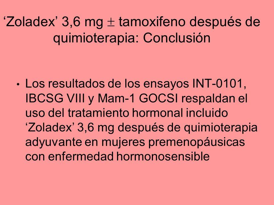 'Zoladex' 3,6 mg  tamoxifeno después de quimioterapia: Conclusión