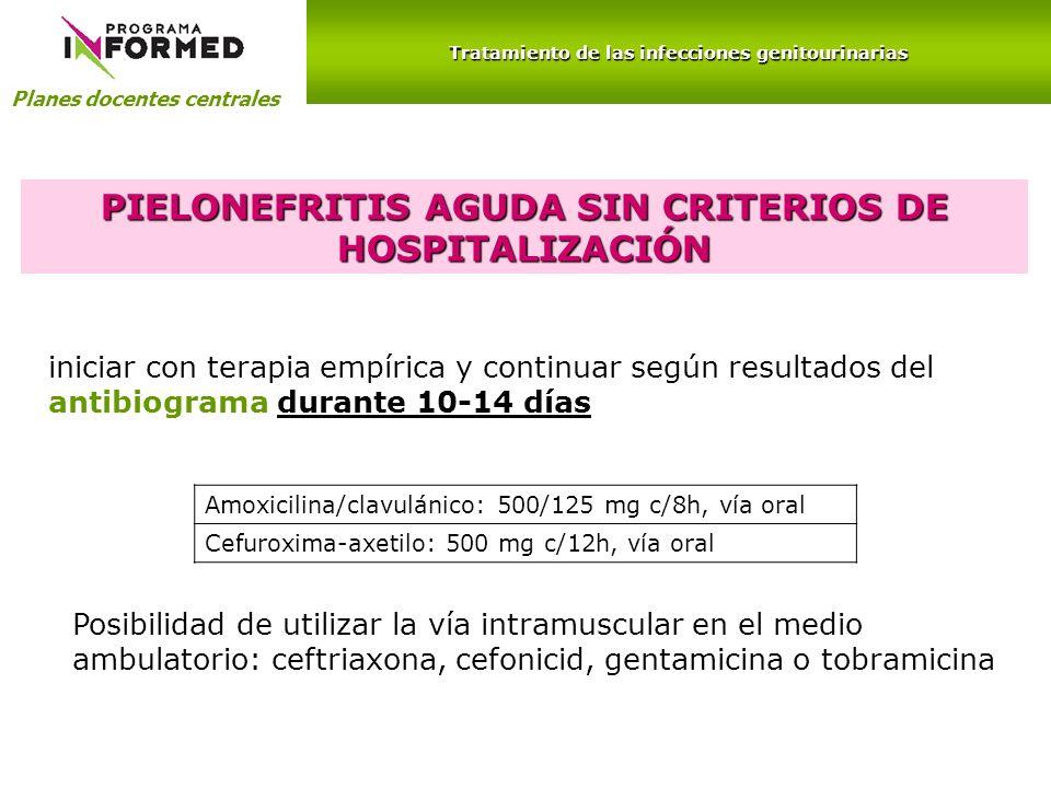 PIELONEFRITIS AGUDA SIN CRITERIOS DE HOSPITALIZACIÓN