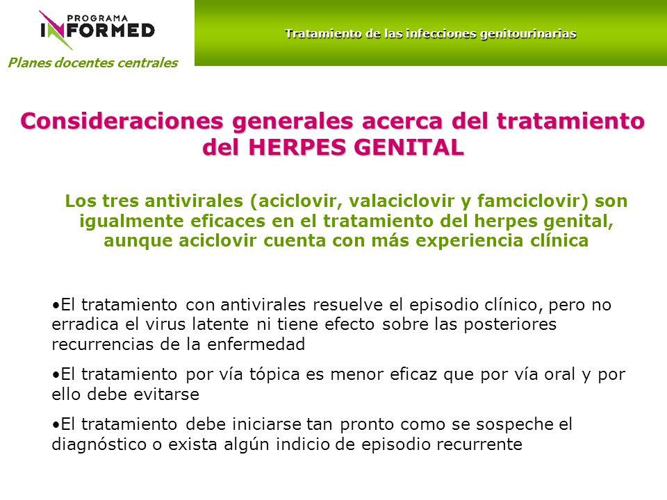 Consideraciones generales acerca del tratamiento del HERPES GENITAL