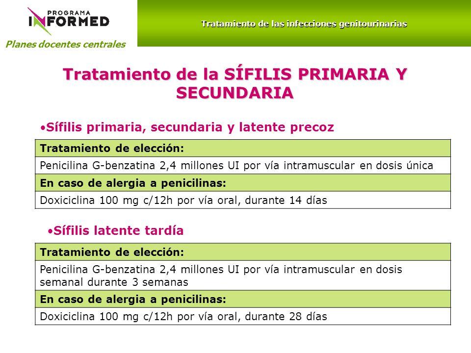 Tratamiento de la SÍFILIS PRIMARIA Y SECUNDARIA