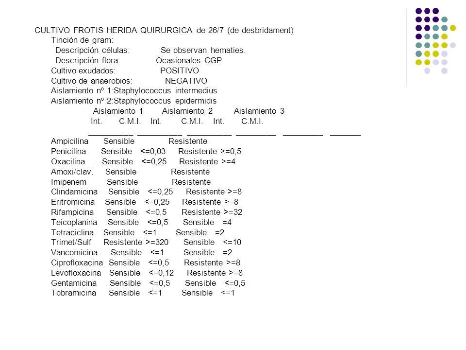 CULTIVO FROTIS HERIDA QUIRURGICA de 26/7 (de desbridament)
