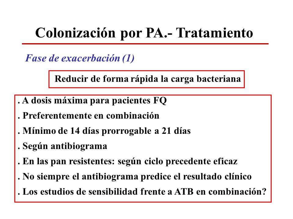 Colonización por PA.- Tratamiento