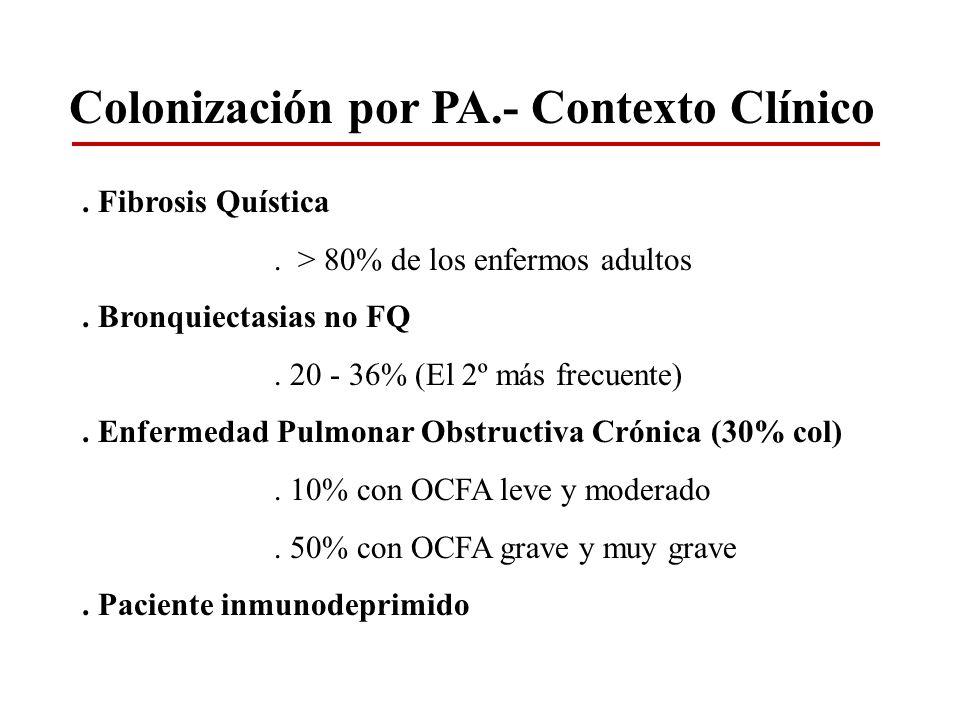Colonización por PA.- Contexto Clínico