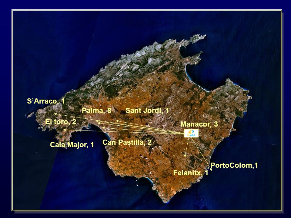 S'Arraco, 1Palma, 8. Sant Jordi, 1. El toro, 2. Manacor, 3. Can Pastilla, 2. Cala Major, 1. PortoColom,1.