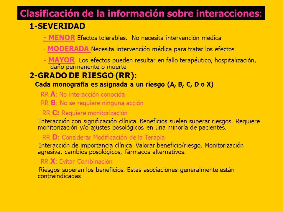 Clasificación de la información sobre interacciones: