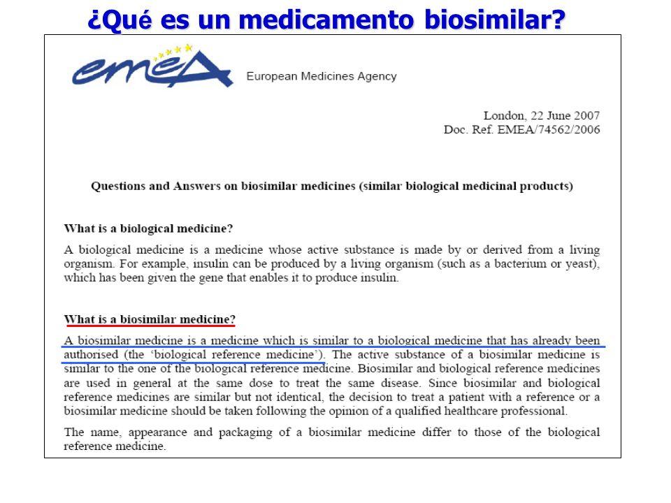 ¿Qué es un medicamento biosimilar