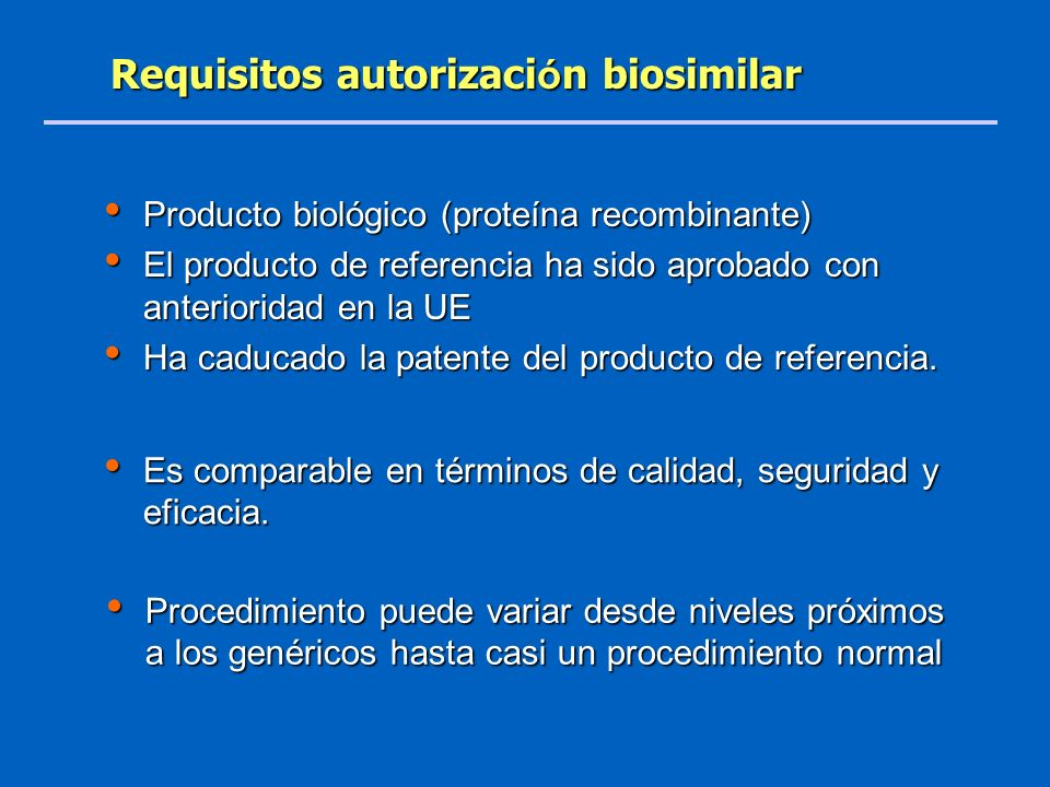 Requisitos autorización biosimilar