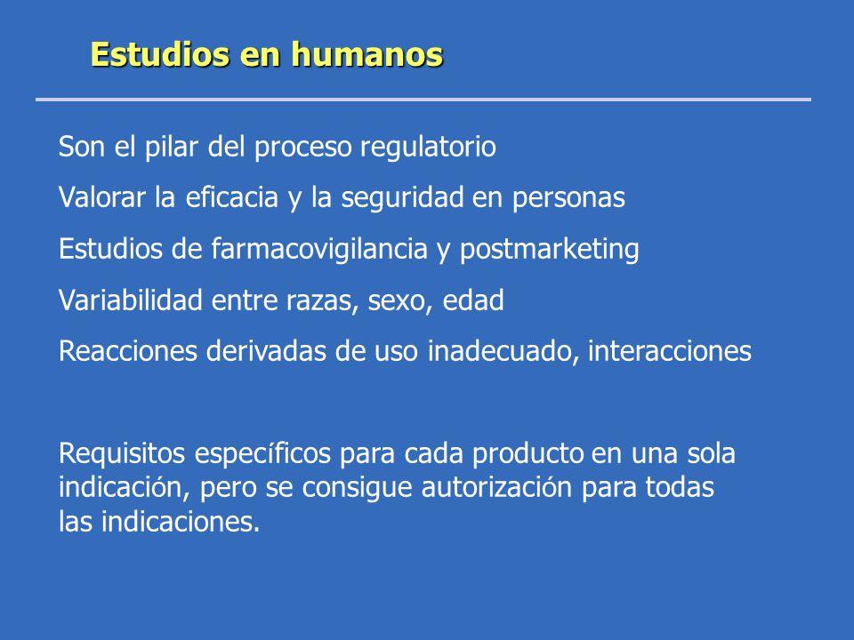 Estudios en humanos Son el pilar del proceso regulatorio