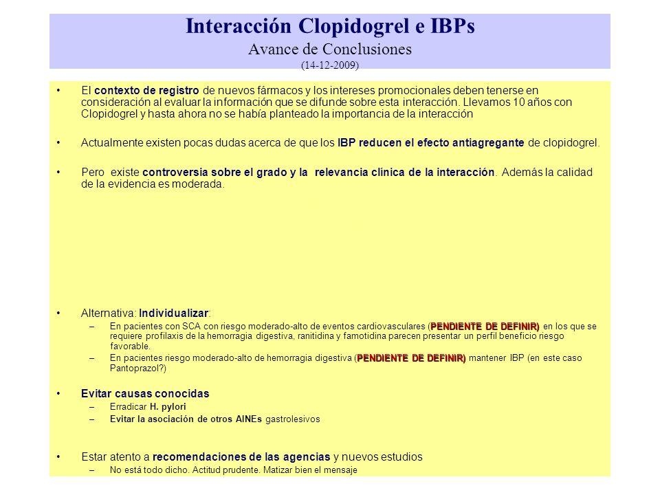 Interacción Clopidogrel e IBPs Avance de Conclusiones (14-12-2009)
