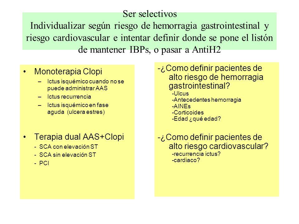 Ser selectivos Individualizar según riesgo de hemorragia gastrointestinal y riesgo cardiovascular e intentar definir donde se pone el listón de mantener IBPs, o pasar a AntiH2