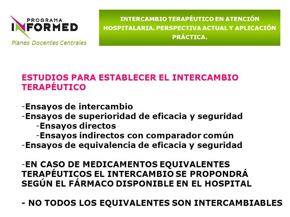ESTUDIOS PARA ESTABLECER EL INTERCAMBIO TERAPÉUTICO