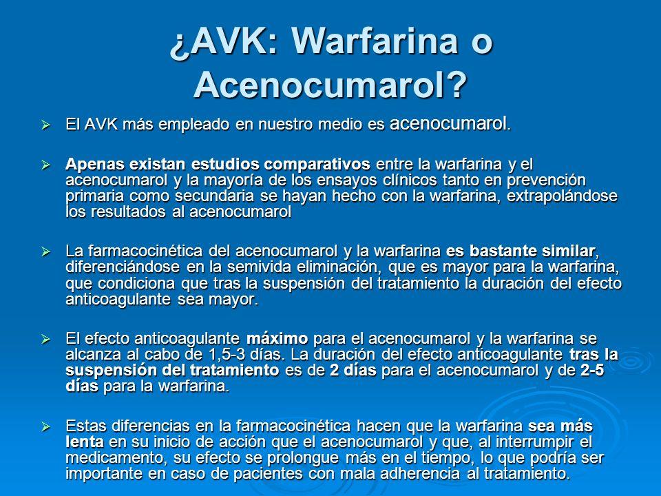 ¿AVK: Warfarina o Acenocumarol