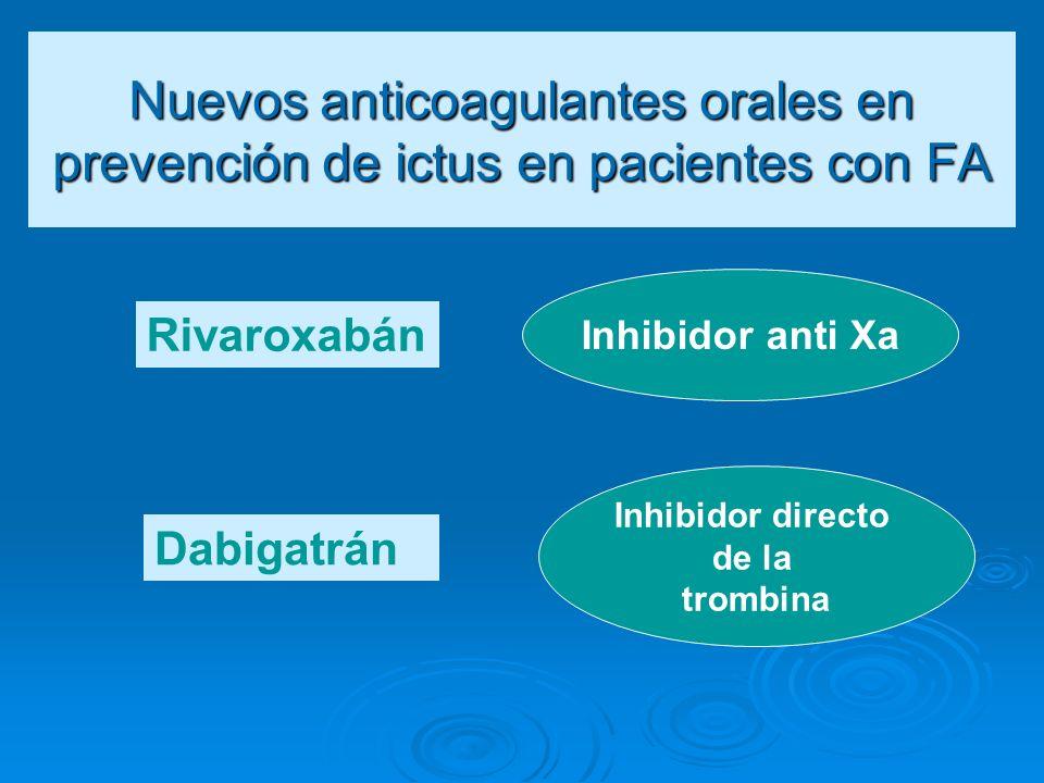 Nuevos anticoagulantes orales en prevención de ictus en pacientes con FA