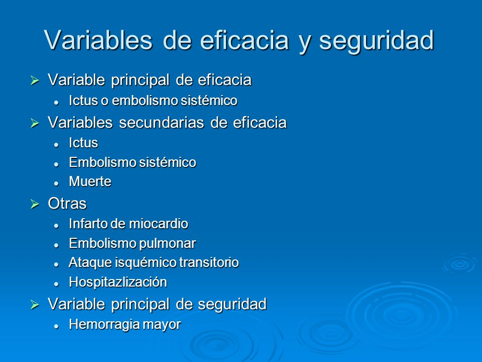 Variables de eficacia y seguridad