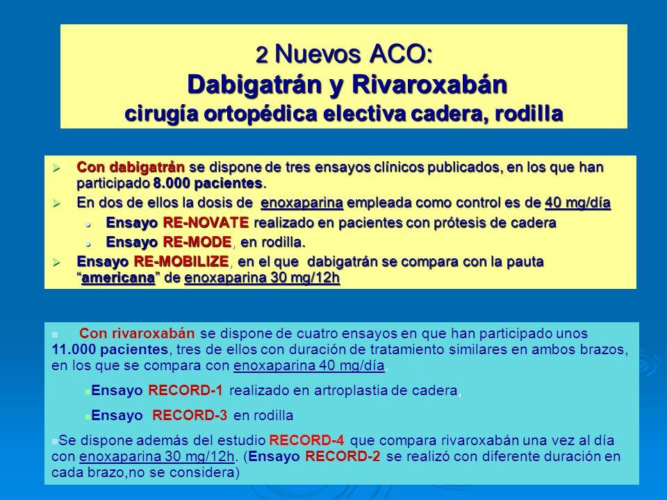 2 Nuevos ACO: Dabigatrán y Rivaroxabán cirugía ortopédica electiva cadera, rodilla