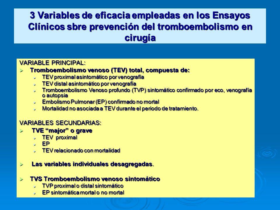 3 Variables de eficacia empleadas en los Ensayos Clínicos sbre prevención del tromboembolismo en cirugía