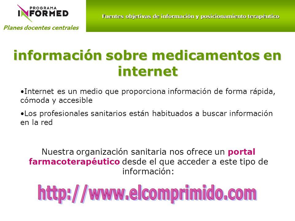 información sobre medicamentos en internet http://www.elcomprimido.com